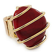 Vintage Burgundy Red Resin Stone Wire Flex Ring In Burn Gold Finish - 35mm Across - Size 7/8