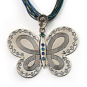 Vintage Butterfly Cord Pendant (Green&Blue)