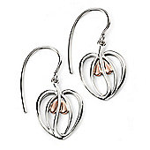 Rose Gold Plated Open Flower Heart Earrings