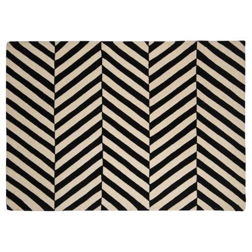Buy wool black and white herringbone chevron rug 100x150 for Black and white wool rug