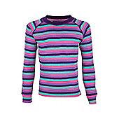 Merino Striped Kids Round Neck Top - Pink