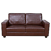 Elements Maine Faux Leather Sofa - Brown - 178 cm W