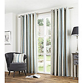 Fusion Melrose Stripe Duck Egg 90x90 Eyelet Lined Curtain
