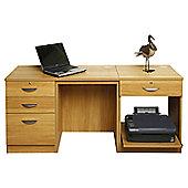 Enduro Home Office Desk / Workstation with Pedestal and Printer Storange - Beech