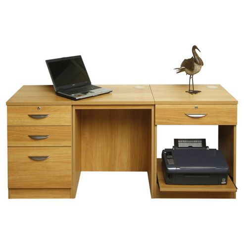 Buy enduro wooden home office desk workstation with pedestal and printer storage from our - Tesco office desk ...