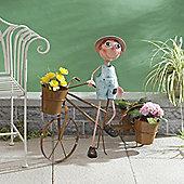 Honeysuckle Boy & Bicycle Triple Planter