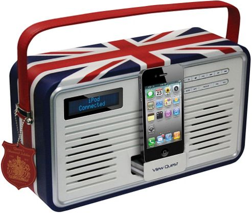 ViewQuest Union Jack Retro Dab/Fm Radio with iPhone/iPad Dock