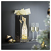 Tesco Champagne Bottle Bag & Gift Tag, Gold