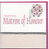 Glitter Words Matron of Honour Thank You Card - Pink Envelope
