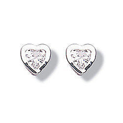 Jo For Girls Clear CZ Silver Heart Stud Childrens Earrings