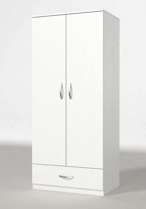 Urbane Designs Panama 2 Door 1 Drawer Wardrobe - White