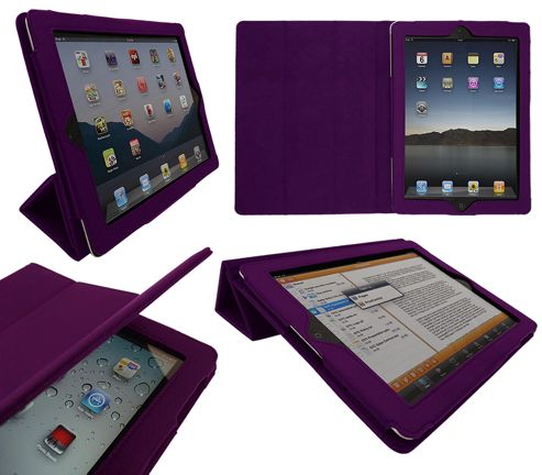 iTALKonline 19674 PadWear Executive Purple Wallet Case With TRI-FOLD SMART TILT For Apple iPad 2 (Wi-Fi and 3G)