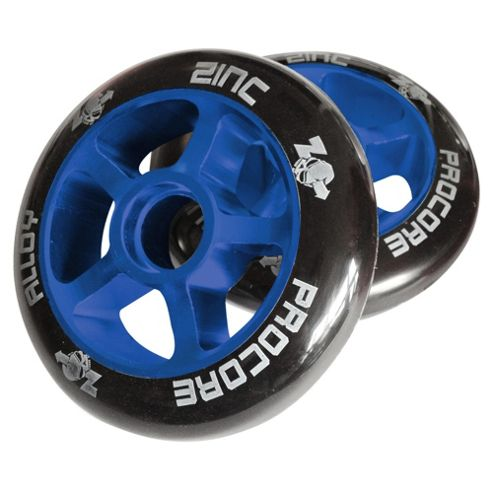 Pro Core Wheels 2 x 100mm CNC Alloy High Bounce Scooter Wheels, Blue