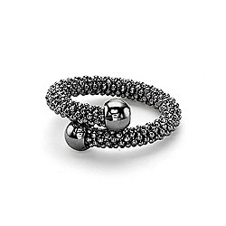 Jewelco London Ruthenium Coated Sterling Silver Single Wrap Popcorn Beaded Fashion Ring Size