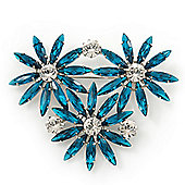 Teal Green, Clear Triple Flower Corsage Brooch In Silver Tone - 75mm Across