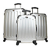 Swiss Case 4 Wheel 3Pc Hard Suitcase Set Silver