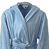 Homescapes Cotton Men's Light Blue Stripe Hooded Bathrobe, One Size Fits All
