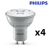 Pack of 4 Philips 4.5W Dimmable LED GU10 Spotlight Bulbs in Warm white