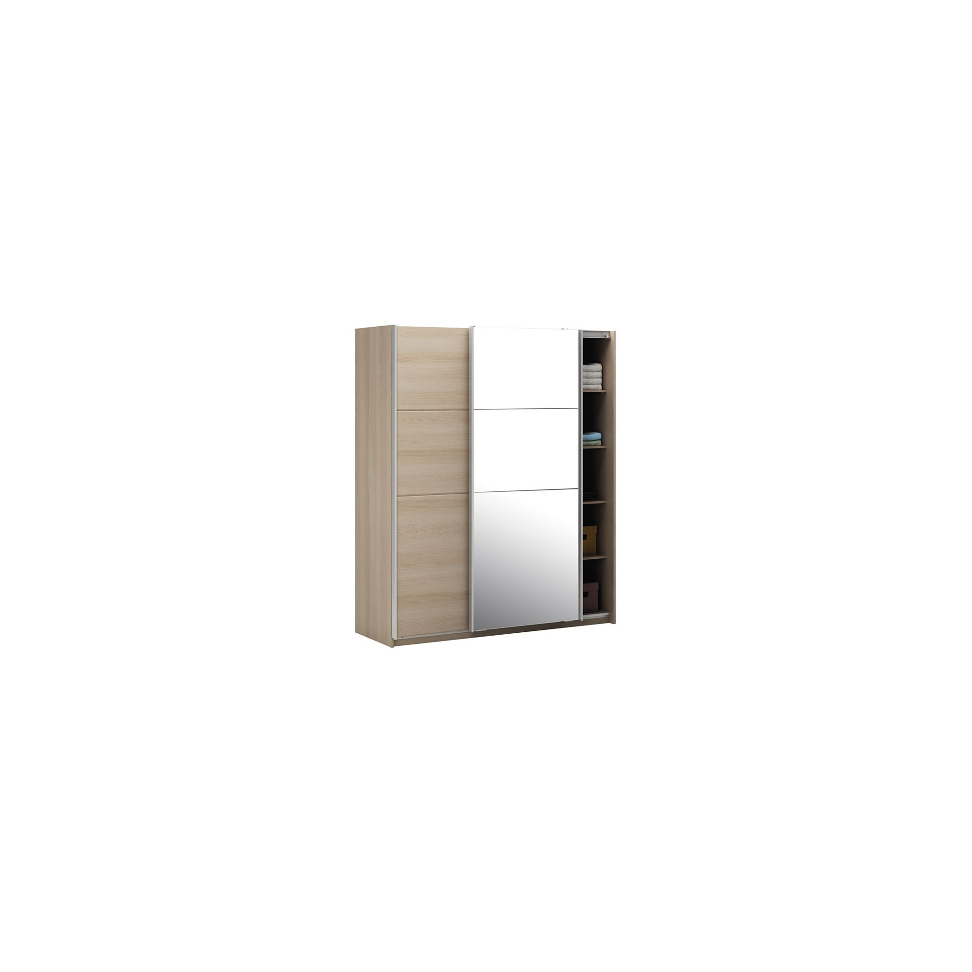 Altruna Elmont Mirrored Slider Wardrobe in Light Oak Veneer at Tesco Direct