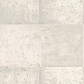 Metallic Metal Panel Wallpaper - Silver and Cream - 65160 Holden
