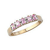 9ct Rose Gold Diamond and Pink Cubic Zirconia Ring