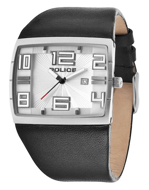 Police Vision Mens Leather Date Watch 13936JS-04