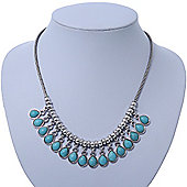 Vintage Inspired Turquoise Teardrop Necklace In Silver Tone - 40cm Length/ 5cm Extension