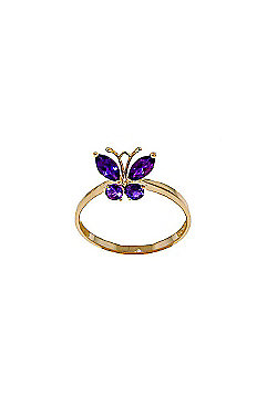 QP Jewellers 0.60ct Amethyst Butterfly Ring in 14K Gold