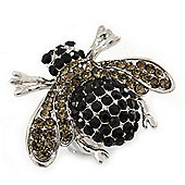 Rhodium Plated Swarovski Crystal Bumble Bee Cocktail Ring - Adjustable Size 8/9 (Grey and Black)