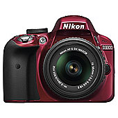 "Nikon D3300 Digital SLR, Red, 24.2MP, 3"" LCD Screen, 18-55 VR Lens"