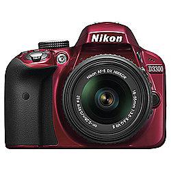 "Nikon D3300 Digital SLR, Red, 24.2MP, 3"" LCD Screen, 18-55 VR Lens"