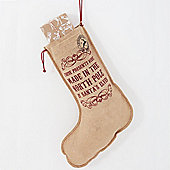 Made In The North Pole Vintage Hessian Christmas Stocking