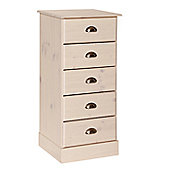 Altruna Terra 5 Narrow Drawer Chest - White Wash Pine