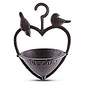 Cast Iron Hanging Heart Bird Feeder Garden Ornament