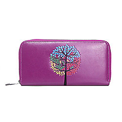 Purple Tree Embossed Zip Purse