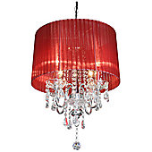 Home Essence Beaumont Four Light Chandelier in Chrome - Red
