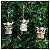 Tesco Crochet Angel Christmas Decoration, 4 Pack