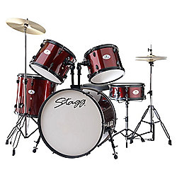 Stagg 5 Piece Rock 22in Drum Kit Wine Red