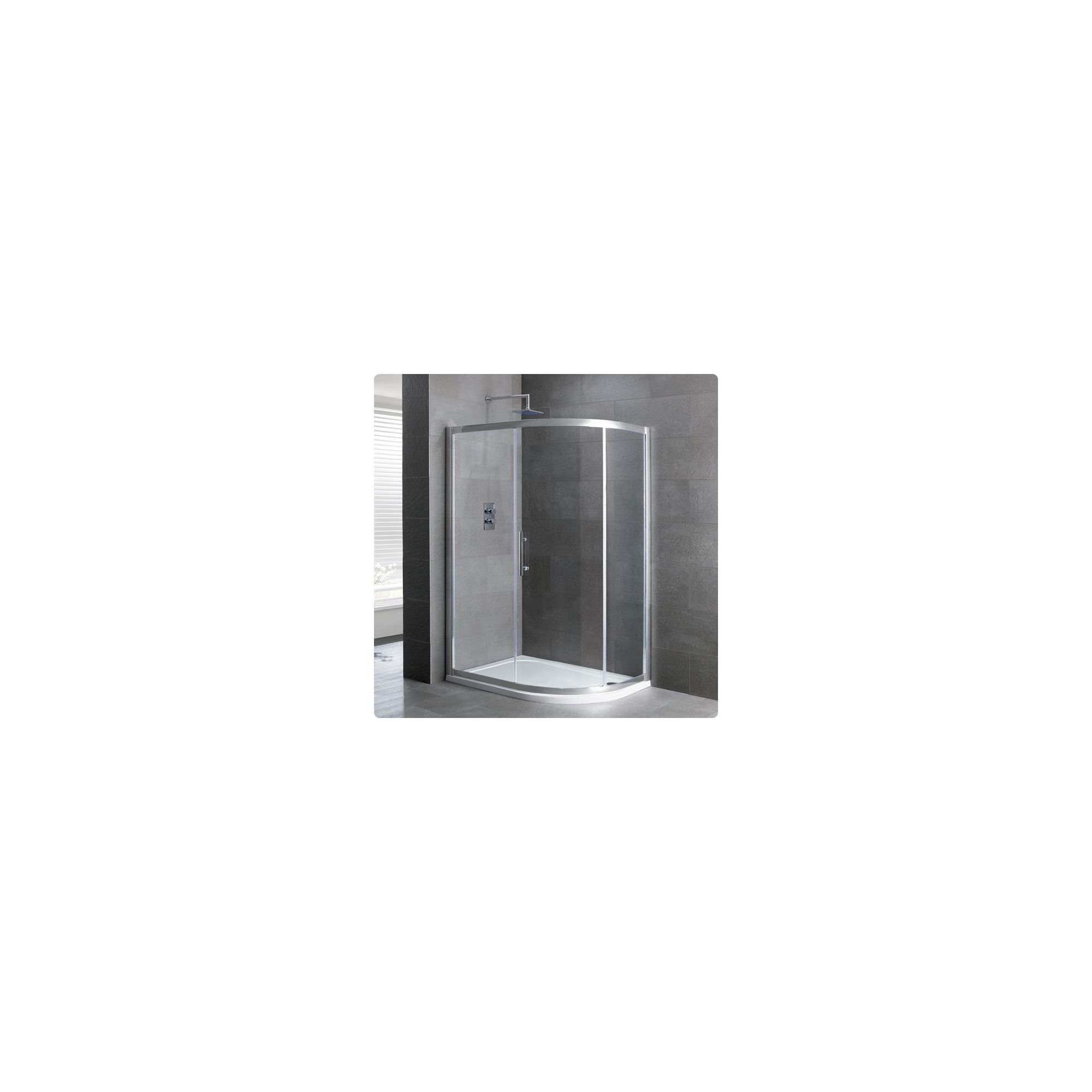 Duchy Select Silver 1 Door Offset Quadrant Shower Enclosure 1000mm x 760mm, Standard Tray, 6mm Glass at Tesco Direct