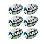 Webb Ellis Trainer Rugby Balls, 6 Pack, Size 3, Navy/Green