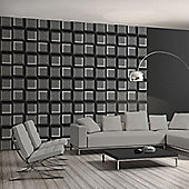 Muriva 3D Squares Wallpaper - Charcoal