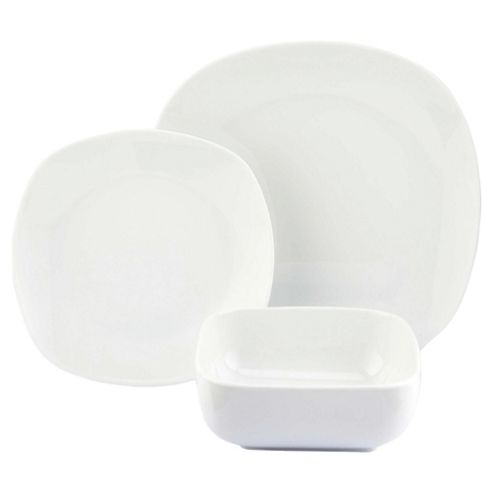 White Porcelain Soft Square 12 Piece, 4 Person Dinner Set