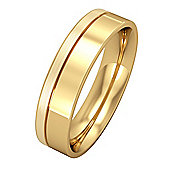 Jewelco London 18ct Yellow Gold - 5mm Essential Flat-Court with Fine Groove P...
