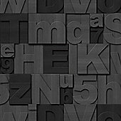 Muriva Wood Letters Wallpaper - Charcoal
