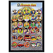 Black Wooden Framed Fireman Sam All The Characters Poster