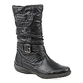 Pavers Calf Boot with Buckle Strap - Black