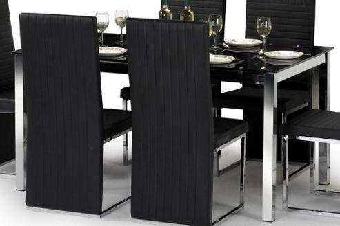 Julian Bowen Tempo Black Glass Dining Table - 150cm