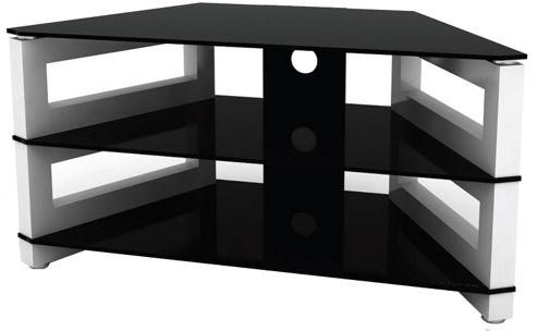 Optimum High Gloss White and Black Corner TV Stand