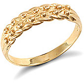 Jewelco London 9ct Solid Gold light weight 2 row Keeper Ring
