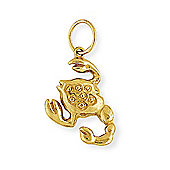 Jewelco London 9ct Light Yellow Gold - Scorpio Charm Pendant -